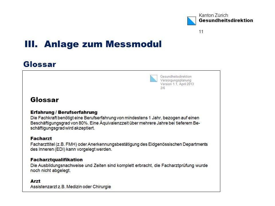 Kanton Zürich Gesundheitsdirektion 11 III. Anlage zum Messmodul Glossar