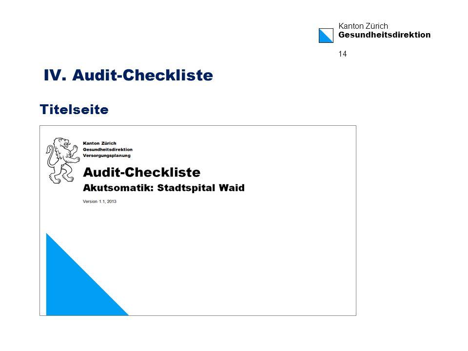 Kanton Zürich Gesundheitsdirektion 14 IV. Audit-Checkliste Titelseite