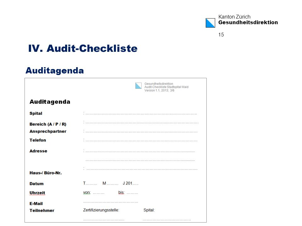 Kanton Zürich Gesundheitsdirektion 15 IV. Audit-Checkliste Auditagenda