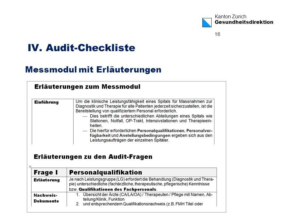 Kanton Zürich Gesundheitsdirektion 16 IV. Audit-Checkliste Messmodul mit Erläuterungen