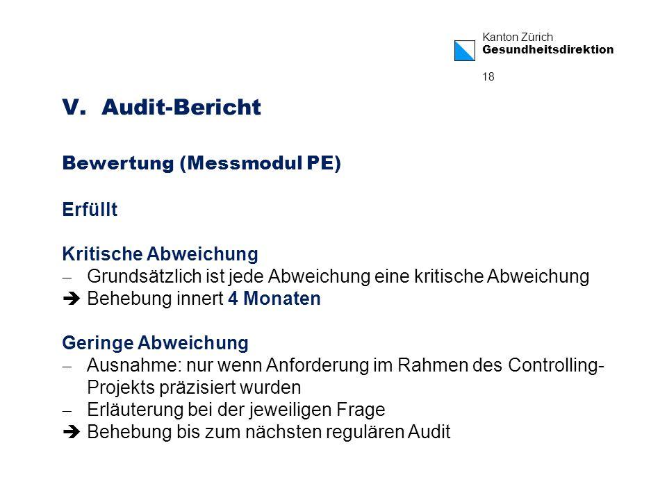 Kanton Zürich Gesundheitsdirektion 18 V. Audit-Bericht Bewertung (Messmodul PE) Erfüllt Kritische Abweichung Grundsätzlich ist jede Abweichung eine kr