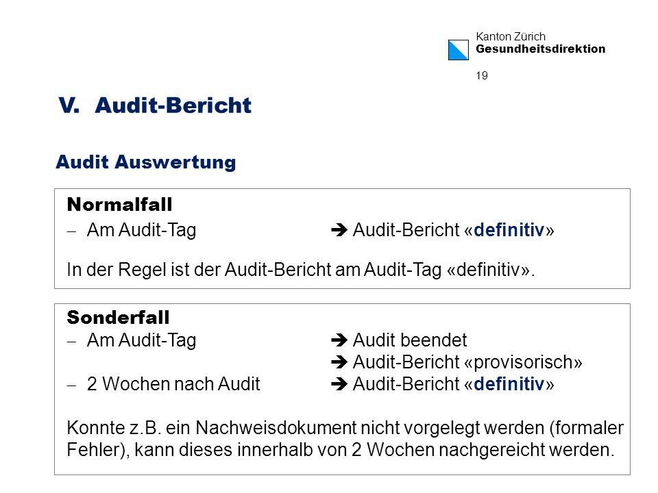Kanton Zürich Gesundheitsdirektion 19 V. Audit-Bericht Audit Auswertung Normalfall Am Audit-Tag Audit-Bericht «definitiv» In der Regel ist der Audit-B