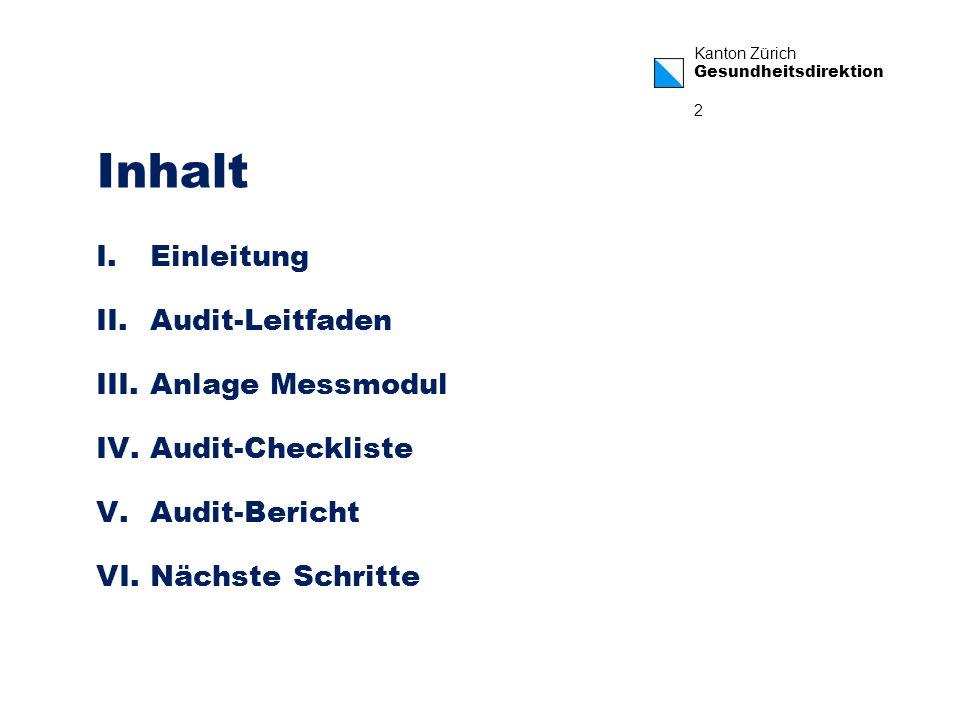 Kanton Zürich Gesundheitsdirektion 2 Inhalt I.Einleitung II.Audit-Leitfaden III.Anlage Messmodul IV.Audit-Checkliste V.Audit-Bericht VI.Nächste Schrit