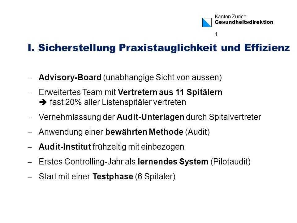 Kanton Zürich Gesundheitsdirektion 4 I. Sicherstellung Praxistauglichkeit und Effizienz Advisory-Board (unabhängige Sicht von aussen) Erweitertes Team