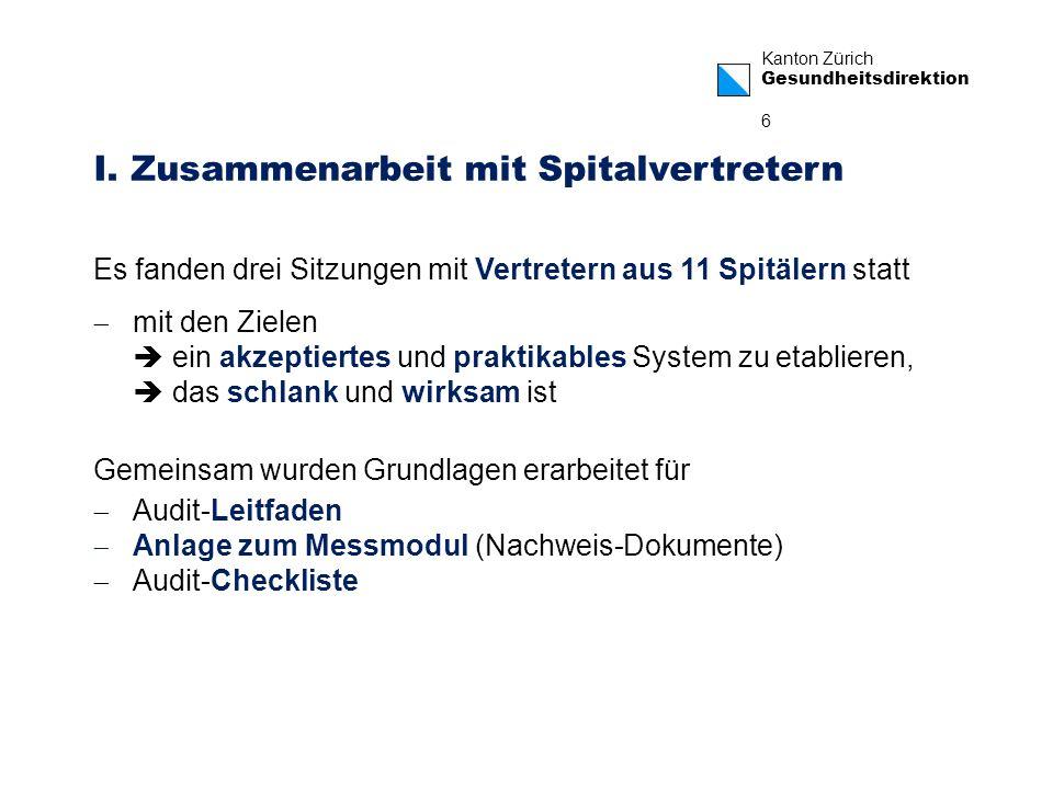Kanton Zürich Gesundheitsdirektion 6 Audit-Leitfaden Anlage zum Messmodul (Nachweis-Dokumente) Audit-Checkliste Es fanden drei Sitzungen mit Vertreter