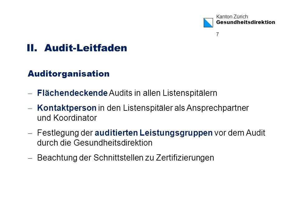 Kanton Zürich Gesundheitsdirektion 7 II. Audit-Leitfaden Auditorganisation Flächendeckende Audits in allen Listenspitälern Kontaktperson in den Listen