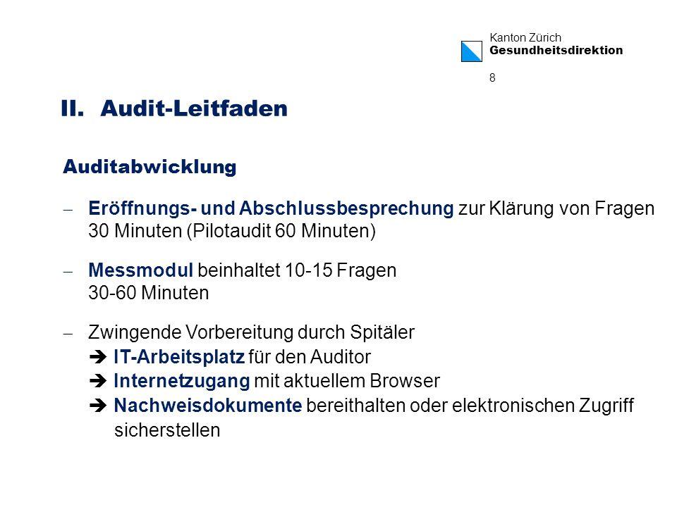 Kanton Zürich Gesundheitsdirektion 8 Eröffnungs- und Abschlussbesprechung zur Klärung von Fragen 30 Minuten (Pilotaudit 60 Minuten) Messmodul beinhalt