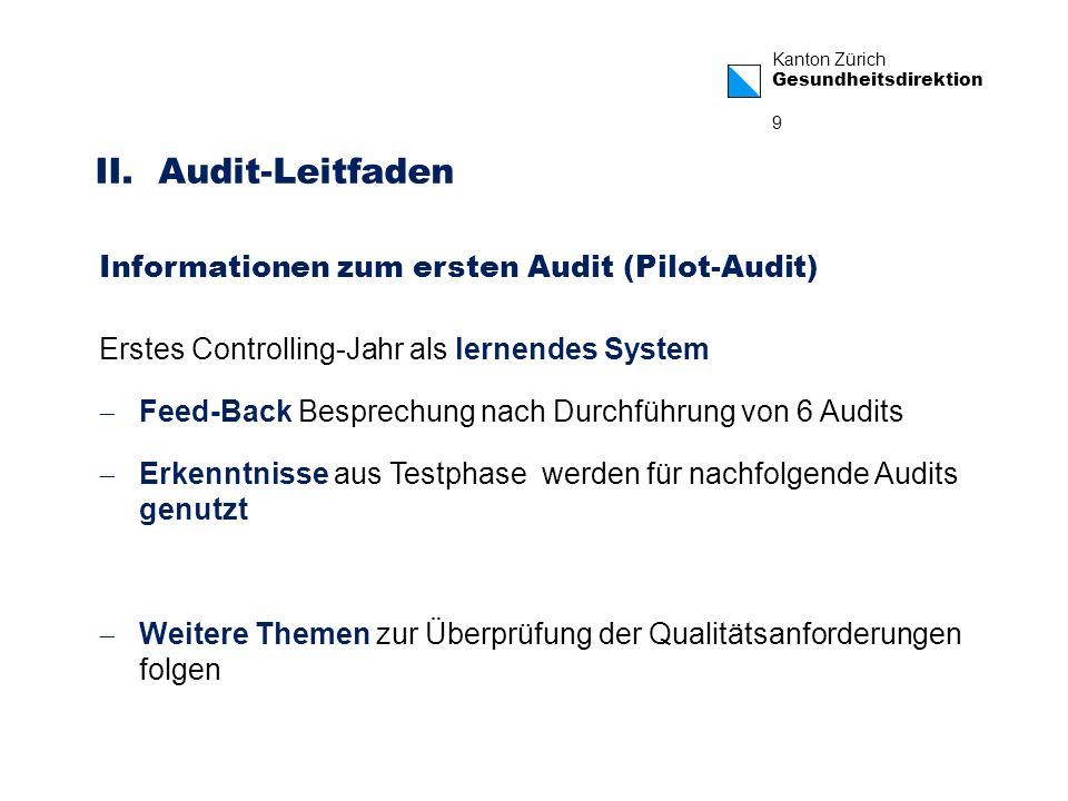 Kanton Zürich Gesundheitsdirektion 9 Erstes Controlling-Jahr als lernendes System Feed-Back Besprechung nach Durchführung von 6 Audits Erkenntnisse au