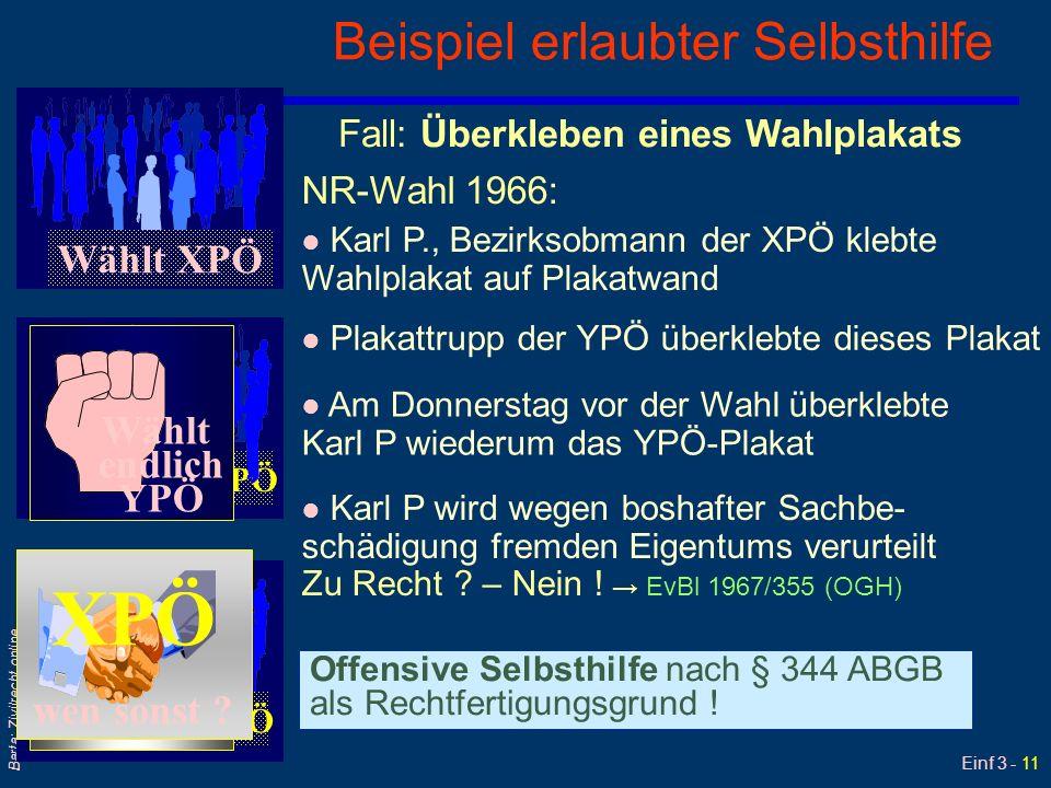 Einf 3 - 11 Barta: Zivilrecht online Beispiel erlaubter Selbsthilfe Wählt XPÖ Wählt endlich YPÖ Wählt XPÖ Fall: Überkleben eines Wahlplakats NR-Wahl 1