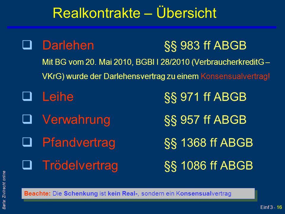 Einf 3 - 16 Barta: Zivilrecht online Realkontrakte – Übersicht qDarlehen §§ 983 ff ABGB Mit BG vom 20. Mai 2010, BGBl I 28/2010 (VerbraucherkreditG –