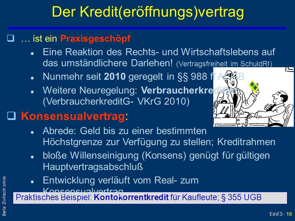 Einf 3 - 18 Barta: Zivilrecht online Der Kredit(eröffnungs)vertrag Praktisches Beispiel: Kontokorrentkredit für Kaufleute; § 355 UGB q… ist ein Praxis