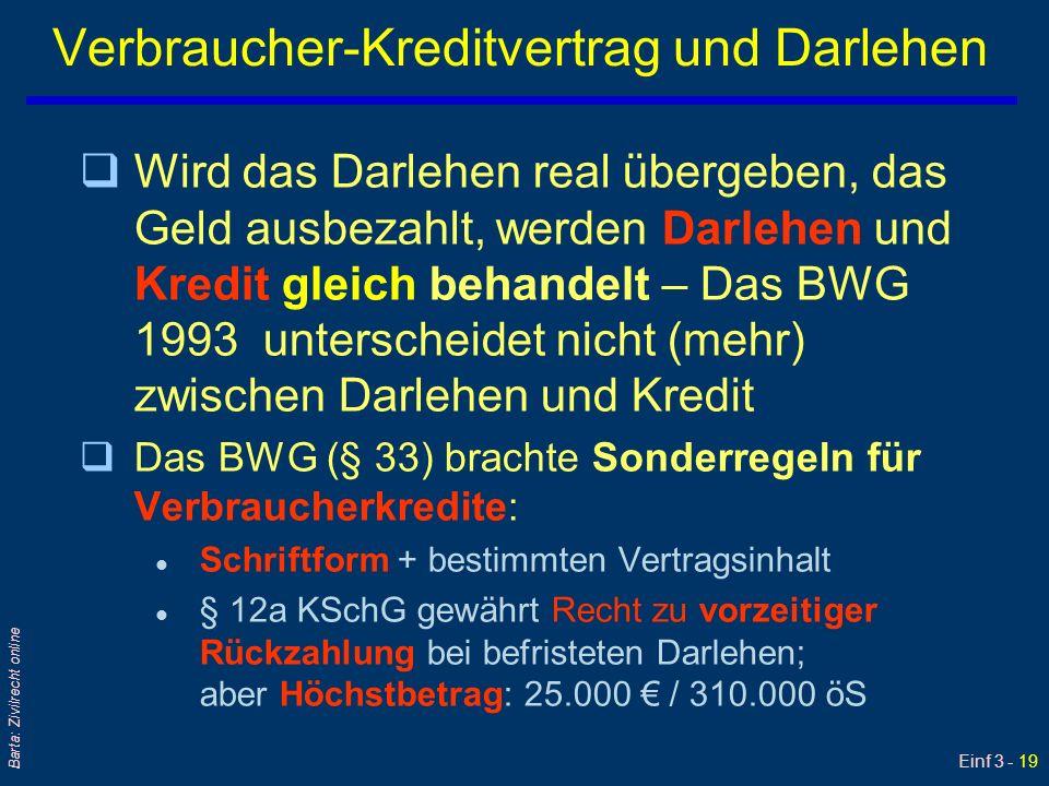 Einf 3 - 19 Barta: Zivilrecht online Verbraucher-Kreditvertrag und Darlehen qWird das Darlehen real übergeben, das Geld ausbezahlt, werden Darlehen un