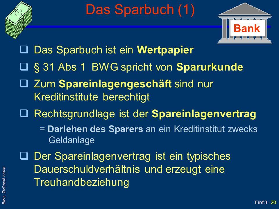 Einf 3 - 20 Barta: Zivilrecht online Das Sparbuch (1) qDas Sparbuch ist ein Wertpapier q§ 31 Abs 1 BWG spricht von Sparurkunde qZum Spareinlagengeschä