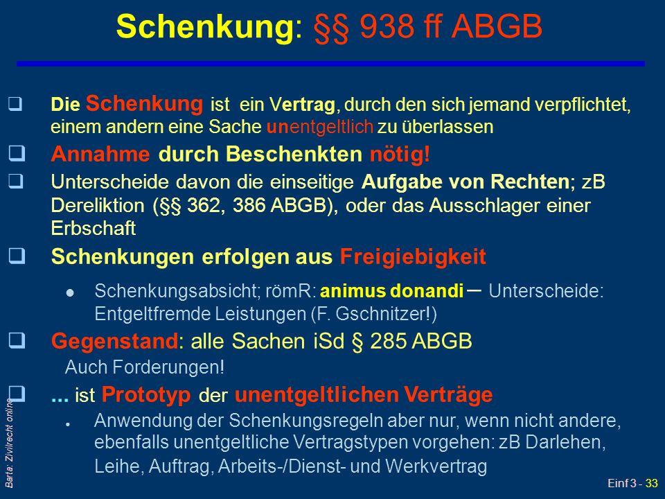 Einf 3 - 33 Barta: Zivilrecht online Schenkung: §§ 938 ff ABGB qDie Schenkung ist ein Vertrag, durch den sich jemand verpflichtet, einem andern eine S