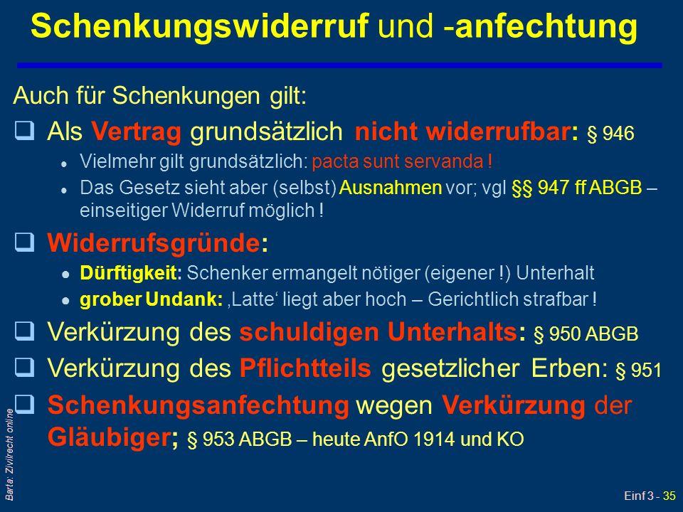 Einf 3 - 35 Barta: Zivilrecht online Schenkungswiderruf und -anfechtung Auch für Schenkungen gilt: qAls Vertrag grundsätzlich nicht widerrufbar: § 946