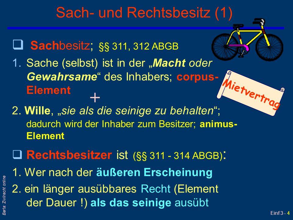 Einf 3 - 4 Barta: Zivilrecht online Sach- und Rechtsbesitz (1) q Sachbesitz; §§ 311, 312 ABGB 1.Sache (selbst) ist in der Macht oder Gewahrsame des In