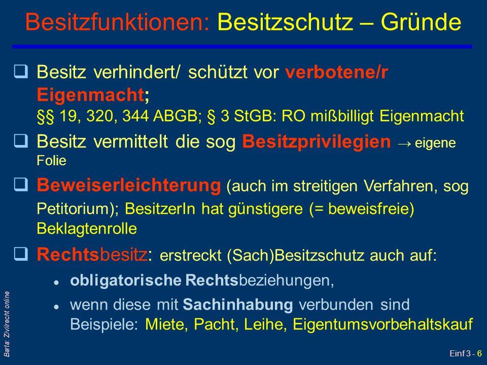 Einf 3 - 17 Barta: Zivilrecht online Darlehen: §§ 983 ff ABGB $ $ qTerminologie: Darlehensgeber/DG und Darlehensnehmer/DN qFrüher Realkontrakt (jetzt KonsensualV) setzte: l bis 2010 Konsens + reale Übergabe voraus (= Zuzählung des Darlehensbetrags) l sonst bisher nach § 983 Satz 2 = nur Darlehens- Vor-Vertrag (§ 936 ABGB!) qSchuldrechtlich: Nach Übergabe – einseitige Verpflichtung des Darlehensnehmers/DN qSachenrechtlich: DN wird Eigentümer qDauer des Darlehens: l Je nach Vereinbarung oder Zweck; allenfalls Kündigung iS eines Fälligstellens durch Mahnung qKommt entgeltlich (Zinsen !) oder unentgeltlich vor; Freundschaftsdarlehen qDer Darlehensvertrag wurde formfrei geschlossen