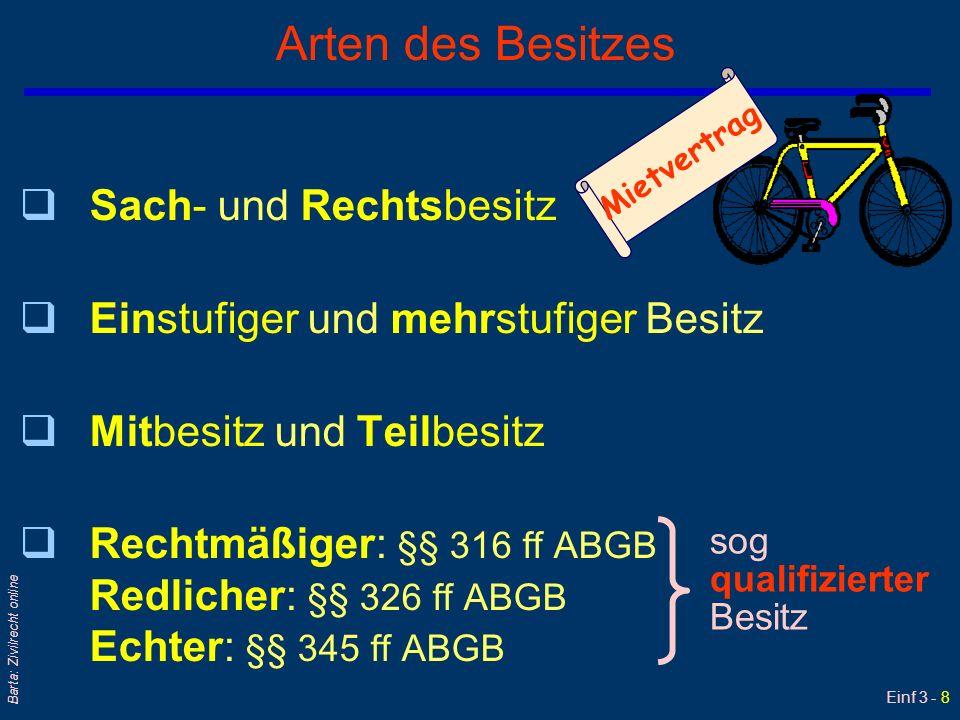 Einf 3 - 8 Barta: Zivilrecht online Arten des Besitzes qSach- und Rechtsbesitz qEinstufiger und mehrstufiger Besitz qMitbesitz und Teilbesitz qRechtmä