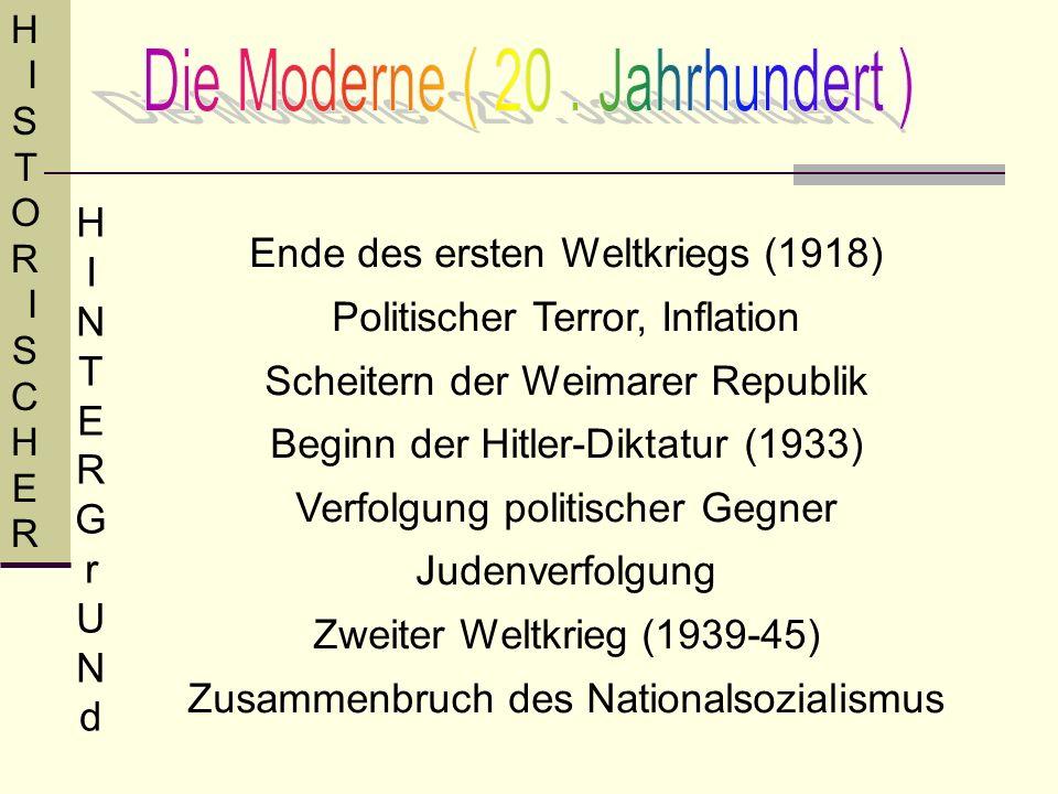 Ende des ersten Weltkriegs (1918) Politischer Terror, Inflation Scheitern der Weimarer Republik Beginn der Hitler-Diktatur (1933) Verfolgung politisch