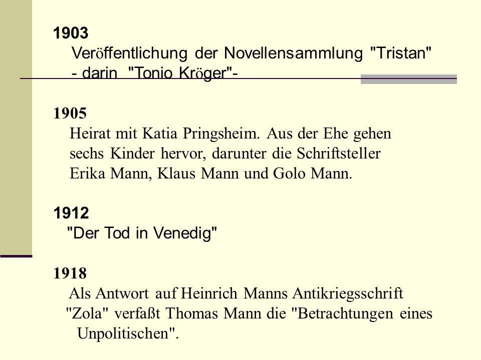 1903 Ver ö ffentlichung der Novellensammlung