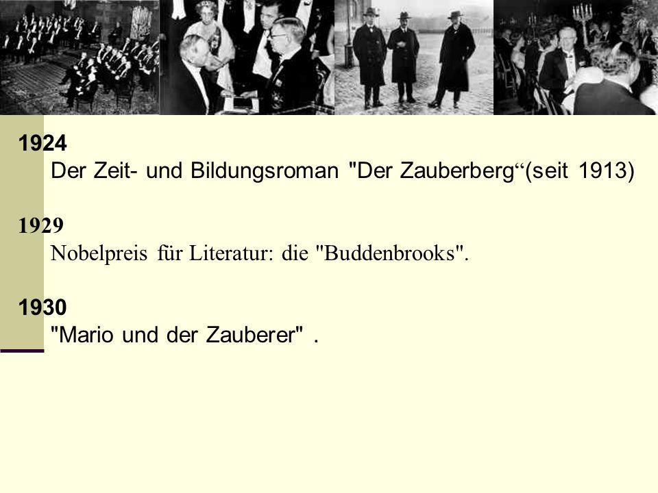 1924 Der Zeit- und Bildungsroman