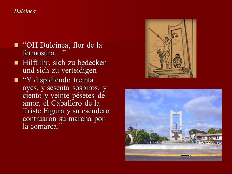 Dulcinea OH Dulcinea, flor de la fermosura… OH Dulcinea, flor de la fermosura… Hilft ihr, sich zu bedecken und sich zu verteidigen Hilft ihr, sich zu