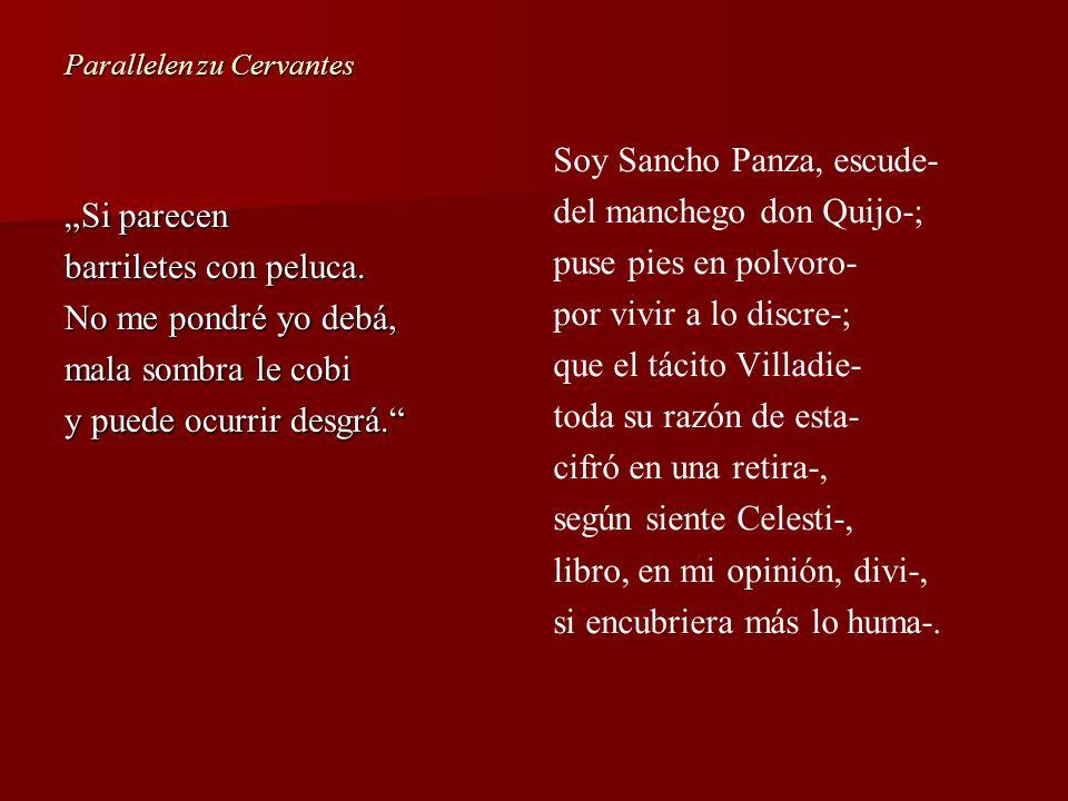 Parallelen zu Cervantes Si parecen barriletes con peluca. No me pondré yo debá, mala sombra le cobi y puede ocurrir desgrá. Soy Sancho Panza, escude-