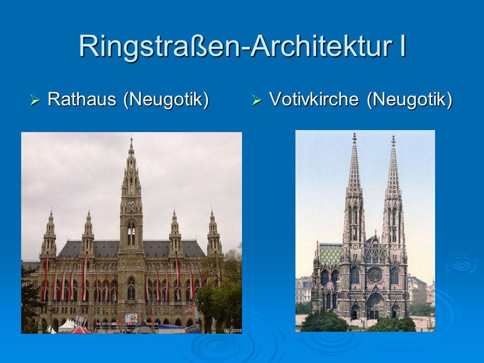 Ringstraßen-Architektur I Rathaus (Neugotik) Rathaus (Neugotik) Votivkirche (Neugotik) Votivkirche (Neugotik)
