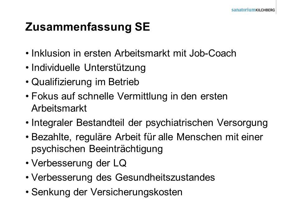 Zusammenfassung SE Inklusion in ersten Arbeitsmarkt mit Job-Coach Individuelle Unterstützung Qualifizierung im Betrieb Fokus auf schnelle Vermittlung