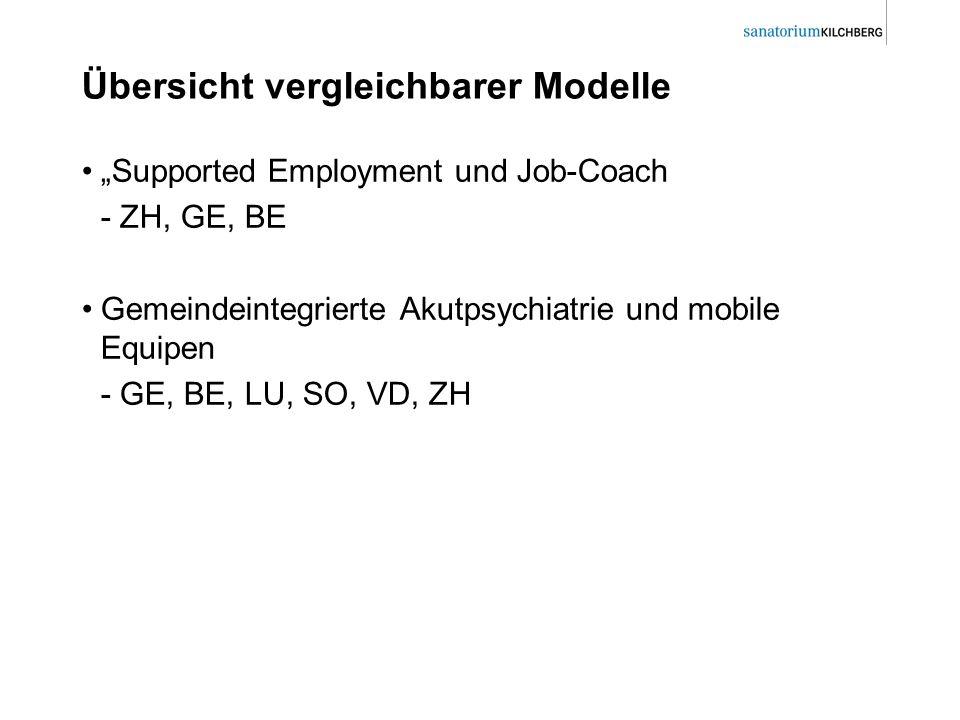 Übersicht vergleichbarer Modelle Supported Employment und Job-Coach - ZH, GE, BE Gemeindeintegrierte Akutpsychiatrie und mobile Equipen - GE, BE, LU,