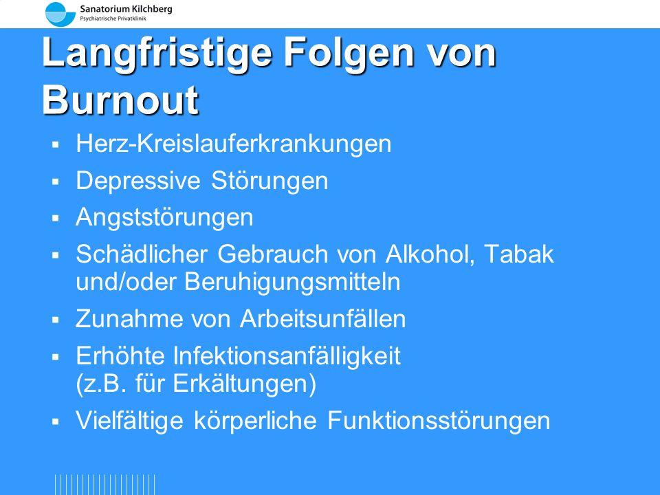 Soziale Konsequenzen von Burnout Rückzug von Freunden und Bekannten Schwierigkeiten in der Partnerschaft (innere) Kündigung am Arbeitsplatz Arbeitsabw