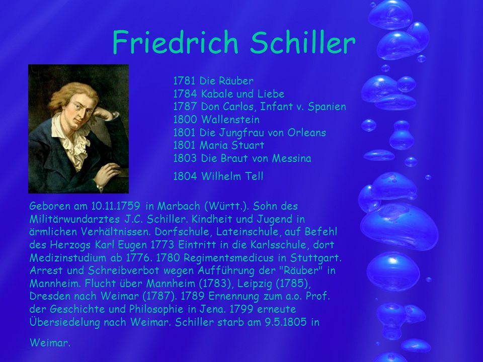 Friedrich Schiller Geboren am 10.11.1759 in Marbach (Württ.). Sohn des Militärwundarztes J.C. Schiller. Kindheit und Jugend in ärmlichen Verhältnissen