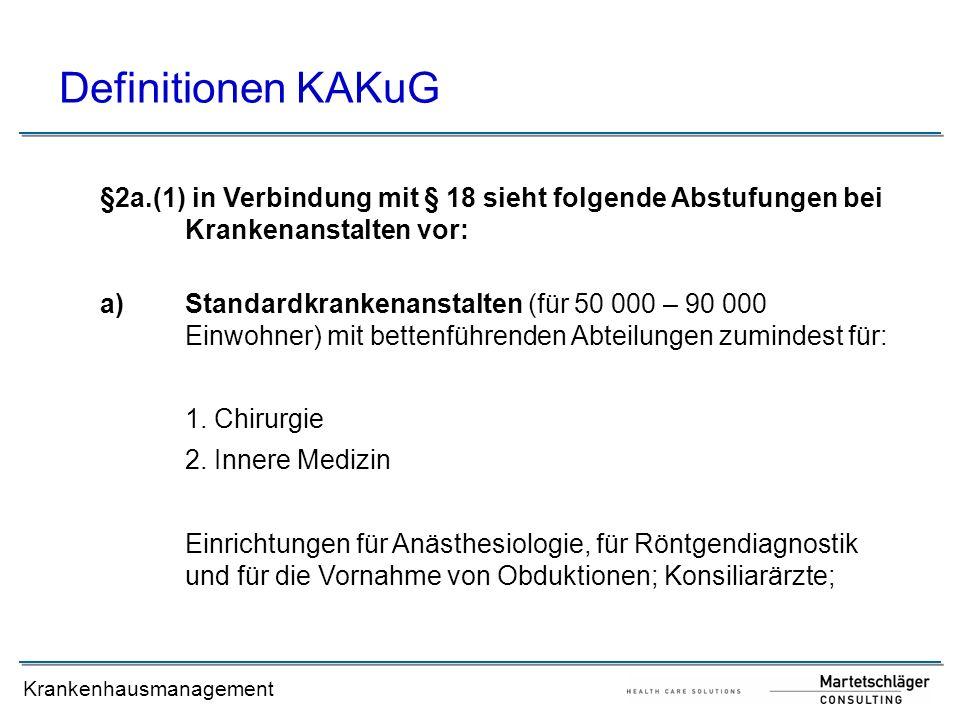 Krankenhausmanagement Definitionen KAKuG b)Schwerpunktkrankenanstalten (für 250 000 bis 300 000 Einwohner) mit bettenführenden Abteilungen zumindest für: 1.