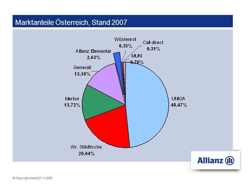 © Copyright Allianz 27.11.2008 Produkte der Allianz Krankenversicherung Krankenhaustagegeldversicherung Argumente: - Abdeckung von Zusatzkosten (z.B.
