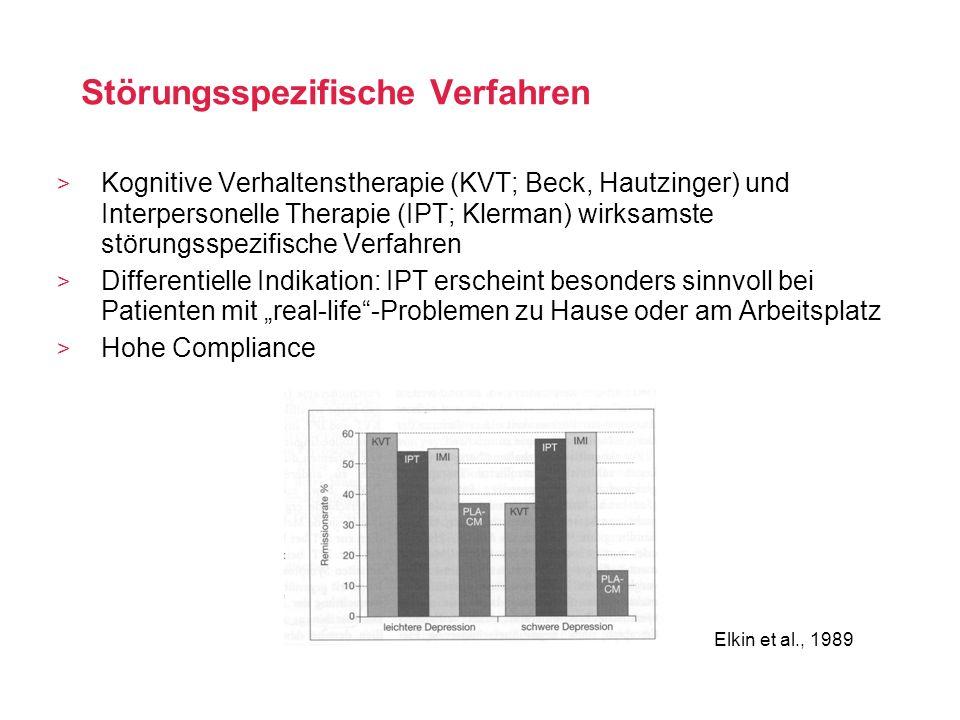Störungsspezifische Verfahren Kognitive Verhaltenstherapie (KVT; Beck, Hautzinger) und Interpersonelle Therapie (IPT; Klerman) wirksamste störungsspez