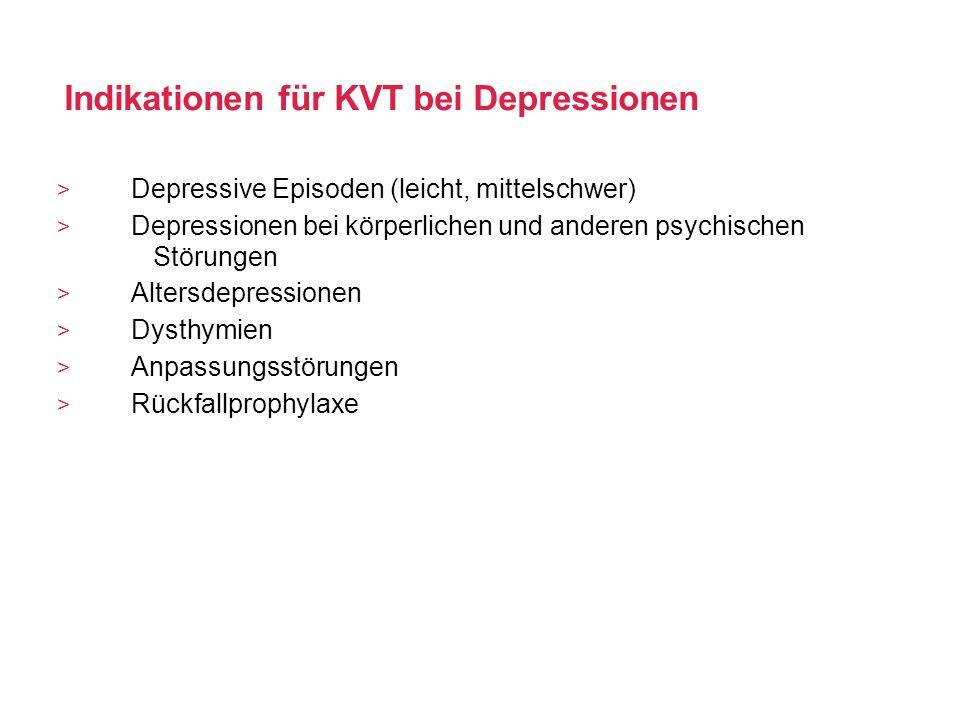 Indikationen für KVT bei Depressionen Depressive Episoden (leicht, mittelschwer) Depressionen bei körperlichen und anderen psychischen Störungen Alter