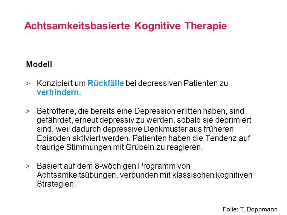 Modell > Konzipiert um Rückfälle bei depressiven Patienten zu verhindern. > Betroffene, die bereits eine Depression erlitten haben, sind gefährdet, er