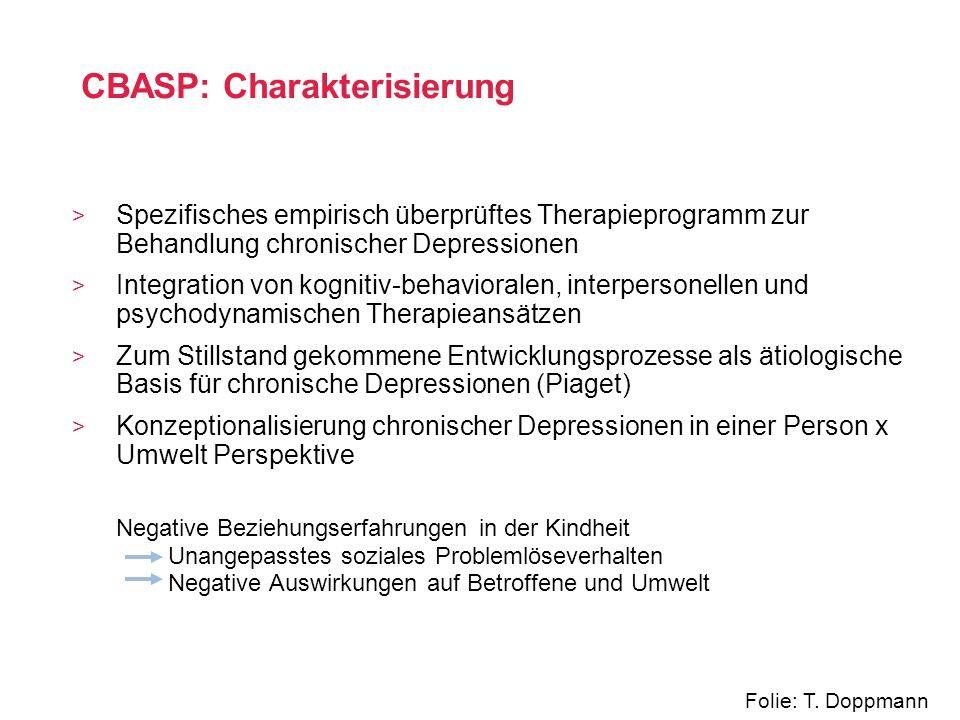> Spezifisches empirisch überprüftes Therapieprogramm zur Behandlung chronischer Depressionen > Integration von kognitiv-behavioralen, interpersonelle