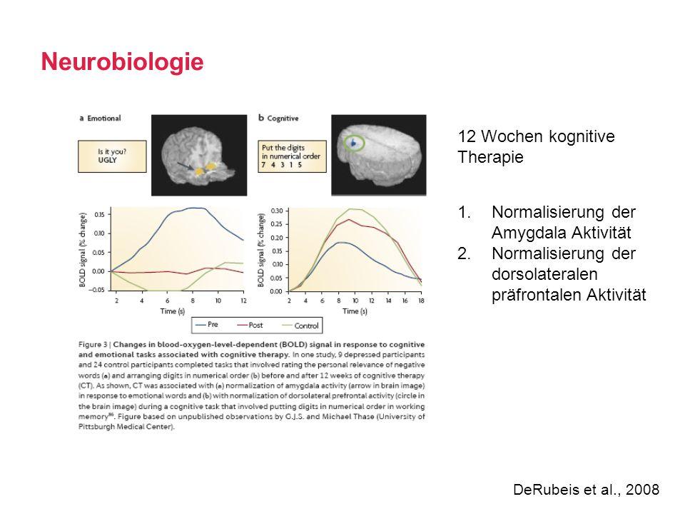 Neurobiologie DeRubeis et al., 2008 1.Normalisierung der Amygdala Aktivität 2.Normalisierung der dorsolateralen präfrontalen Aktivität 12 Wochen kogni