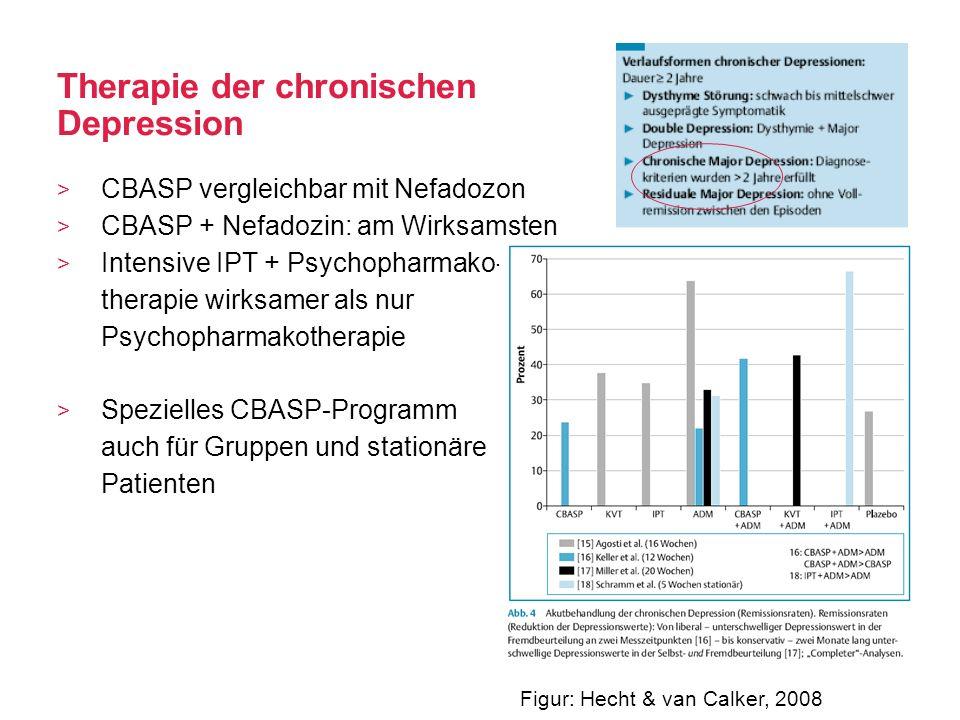 Therapie der chronischen Depression CBASP vergleichbar mit Nefadozon CBASP + Nefadozin: am Wirksamsten Intensive IPT + Psychopharmako- therapie wirksa