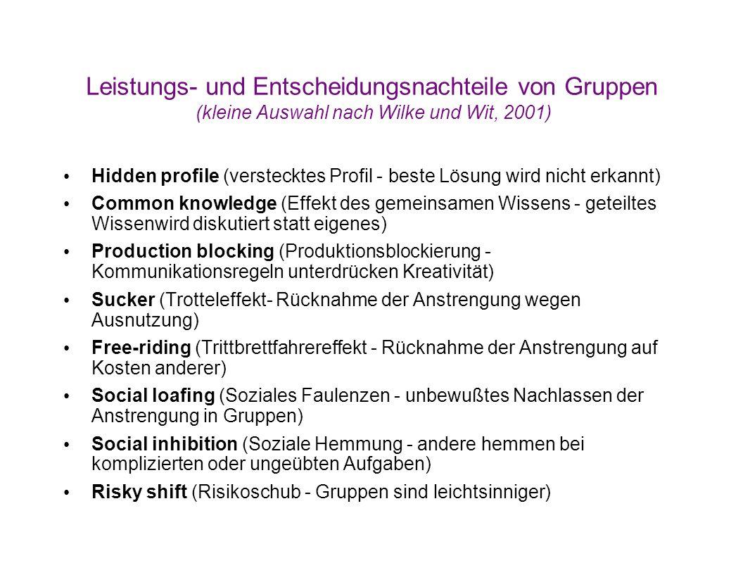 Leistungs- und Entscheidungsnachteile von Gruppen (kleine Auswahl nach Wilke und Wit, 2001) Hidden profile (verstecktes Profil - beste Lösung wird nic