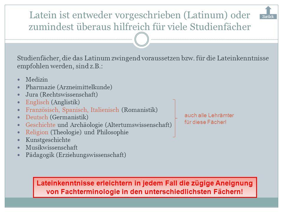 Latein ist entweder vorgeschrieben (Latinum) oder zumindest überaus hilfreich für viele Studienfächer Studienfächer, die das Latinum zwingend vorausse