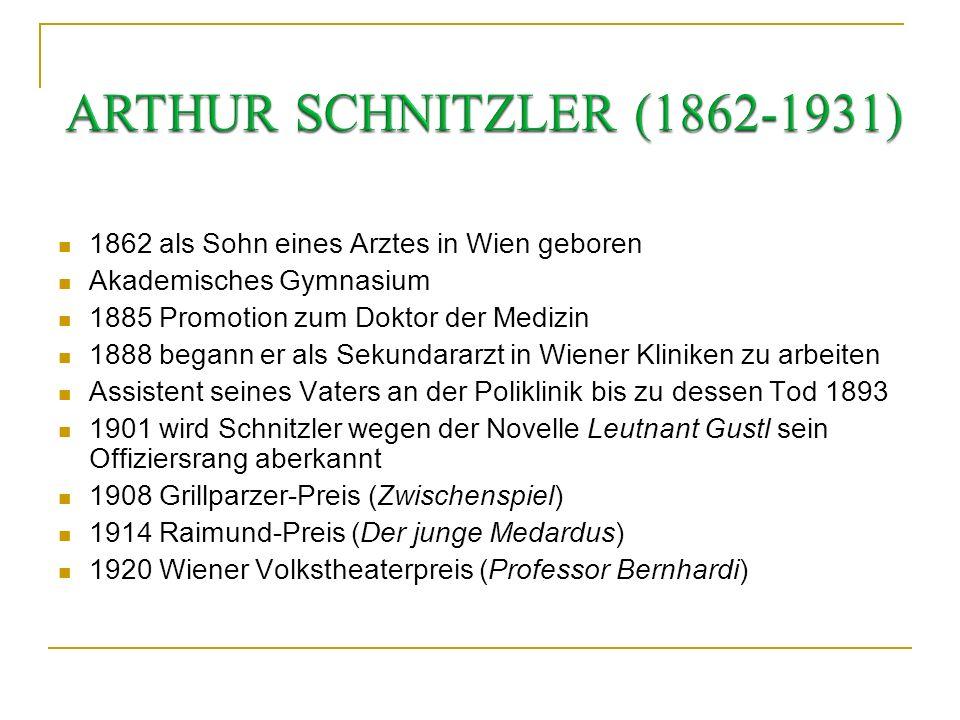 * 15.5.1862 in Wien 21.10.1931 in Wien Seine wichtigsten Werke: 1892 – Anatol (Sammlung von Einaktern) 1895 – Liebelei (Schauspiel) 1901 – Lieutnant G
