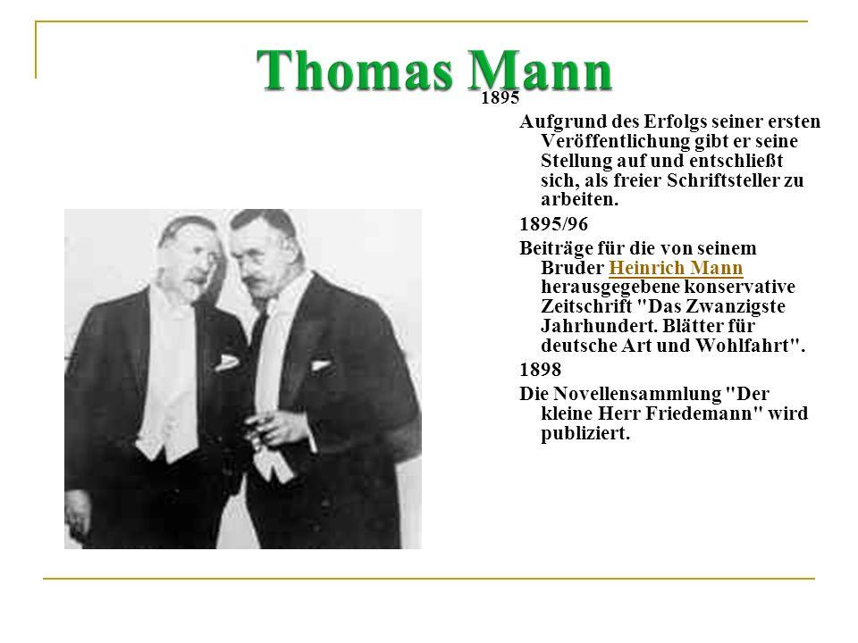 1875 6. Juni: Thomas Mann wird als Sohn des Speditionskaufmanns und späteren Senators Heinrich Mann und dessen Frau Julia (geb. Bruns) in Lübeck gebor