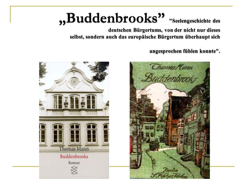 Buddenbrooks (Roman, 1901), Der Tod in Venedig (Novelle, 1913), Tonio Kröger (Erzählung 1903) Bekenntnisse des Hochstaplers Felix Krull (Roman, 1922)
