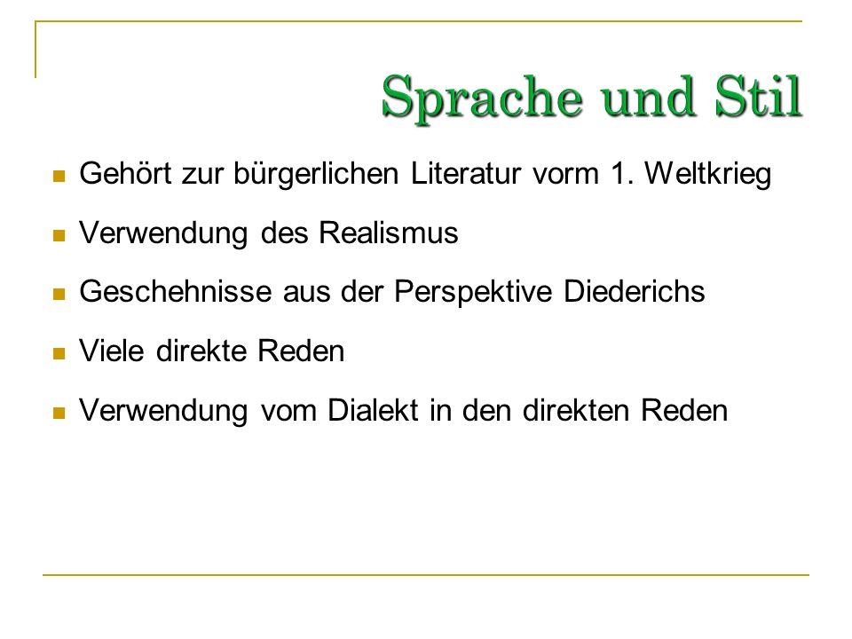 Bildungsroman Erzählt Lebensgeschichte von Diederich Heßling Unterteilung in sechs Kapitel 1. Sozialisation Diederichs (Familie, Schule, Militär und U
