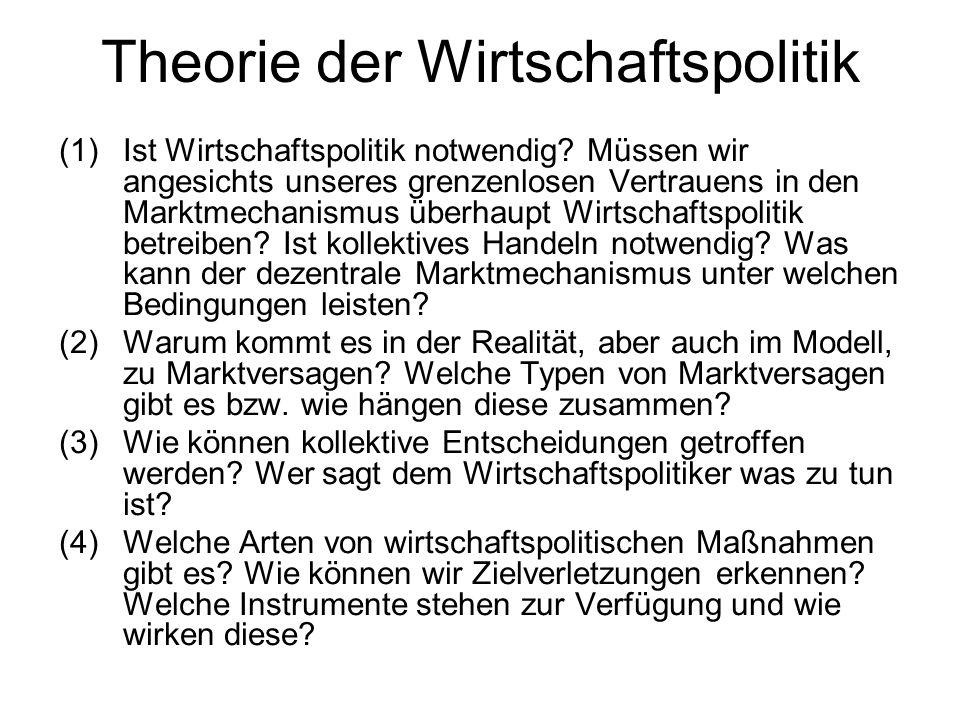 Theorie der Wirtschaftspolitik (1)Ist Wirtschaftspolitik notwendig? Müssen wir angesichts unseres grenzenlosen Vertrauens in den Marktmechanismus über