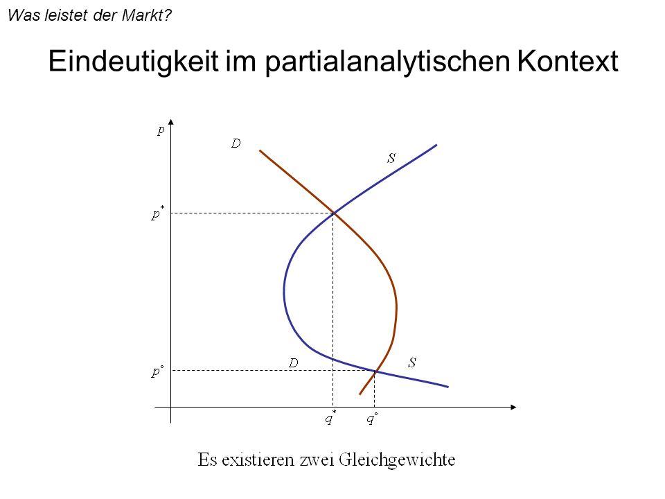 Eindeutigkeit im partialanalytischen Kontext Was leistet der Markt?