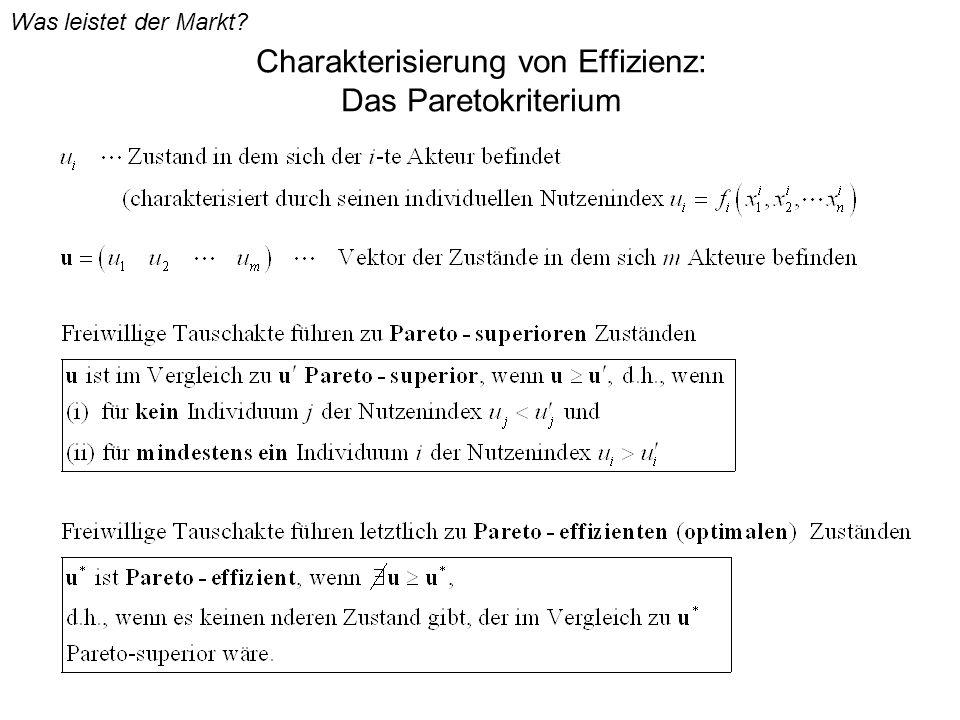 Charakterisierung von Effizienz: Das Paretokriterium Was leistet der Markt?
