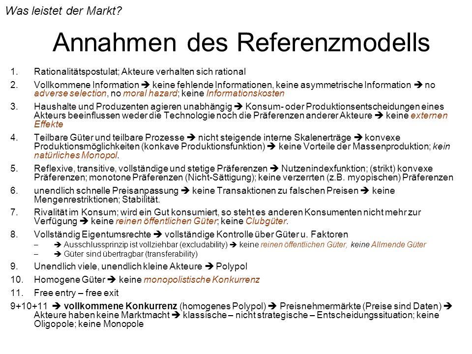 Annahmen des Referenzmodells 1.Rationalitätspostulat; Akteure verhalten sich rational 2.Vollkommene Information keine fehlende Informationen, keine as